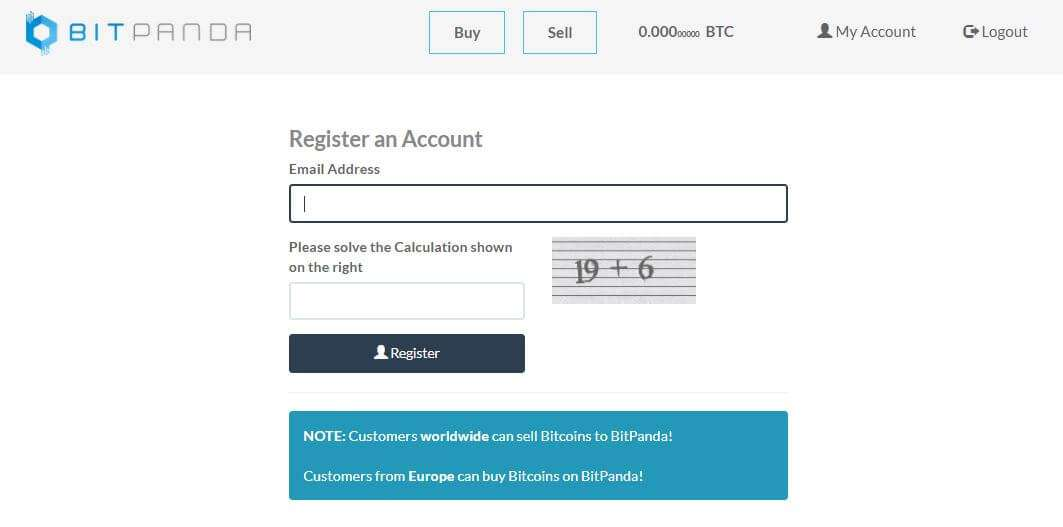 BitPanda registration form