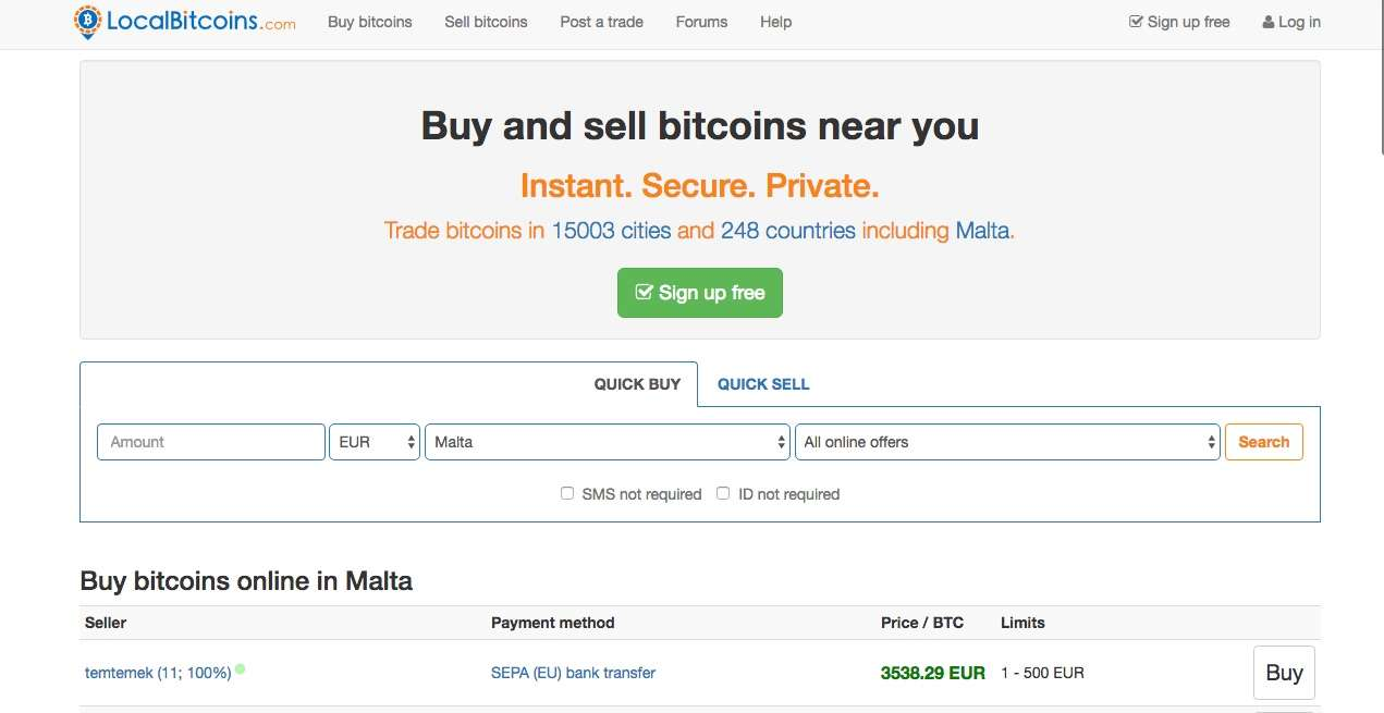 LocalBitcoins review homepage