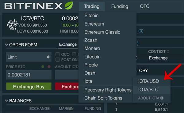 bitfinex buy IOTA
