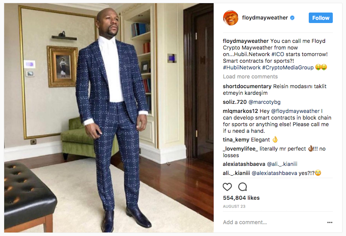 floyd mayweather invested in ico