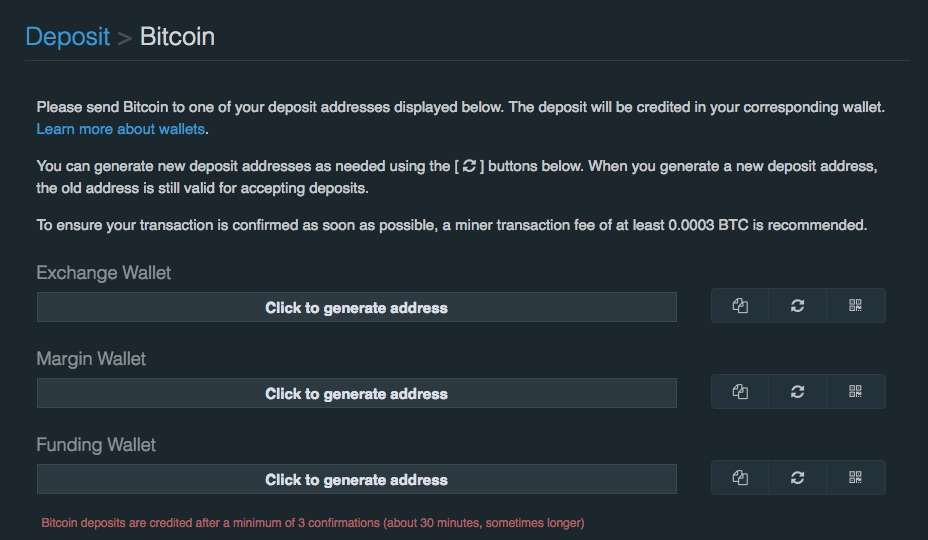 make a deposit with Bitfinex