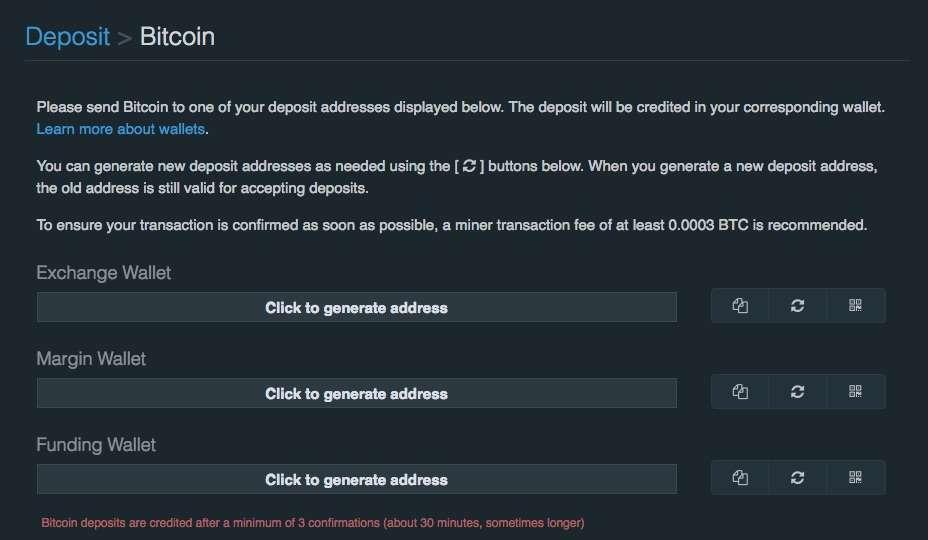 make a deposit with Bitfinex