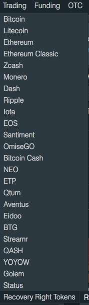 IOTA:EUR trading on Bitfinex