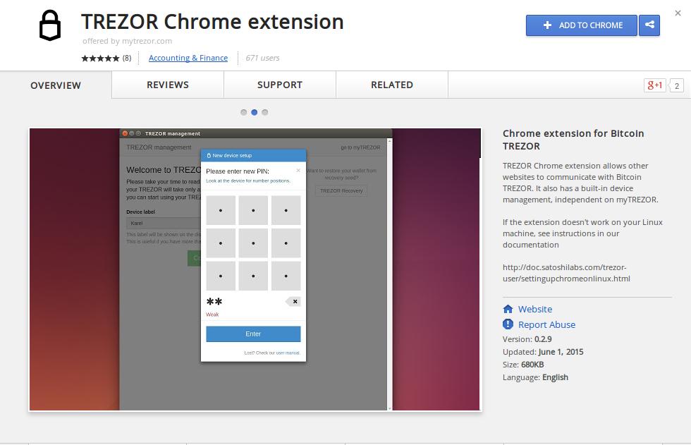 TREZOR install chrome extension
