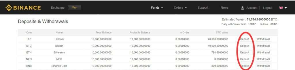 Choose the currency to deposit with Binance