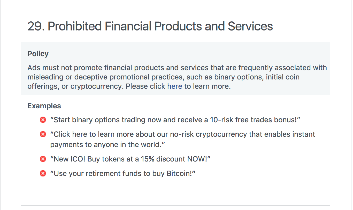Facebook banned cryptocurrency ads