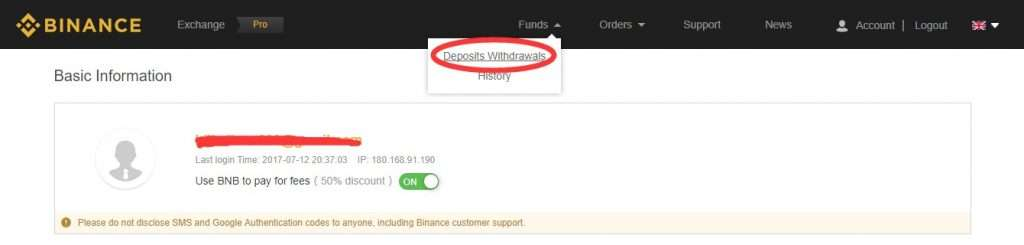 How to deposit funds with Binance