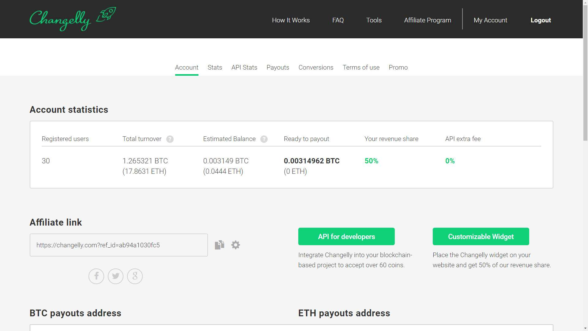 Changelly review interface