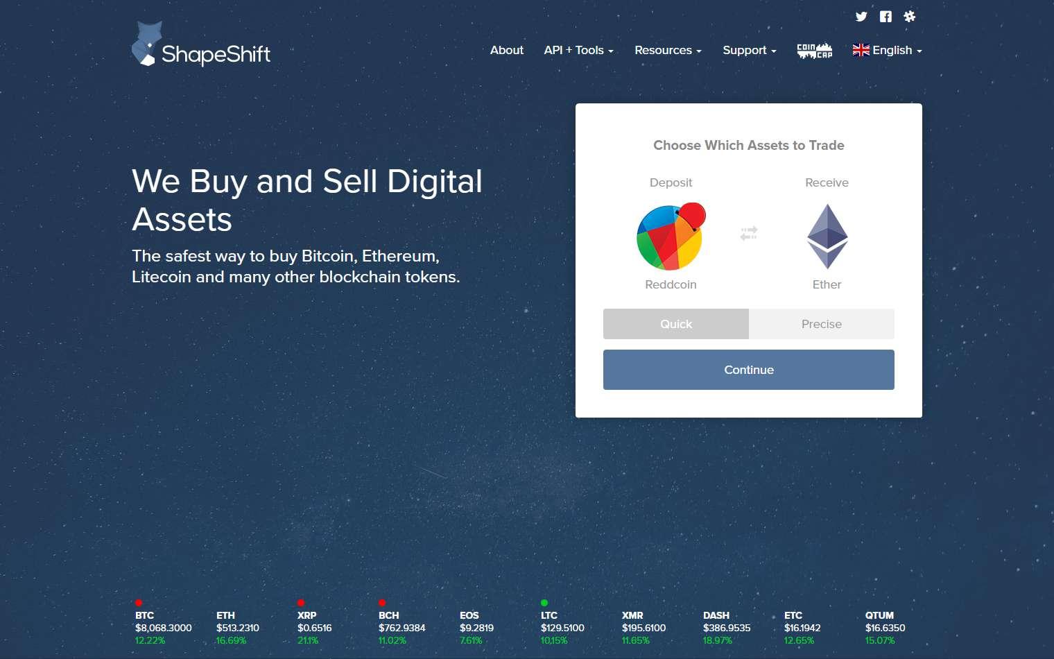 Shapeshift Main page