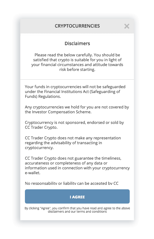 T&C of cryptocurrency trading platforms