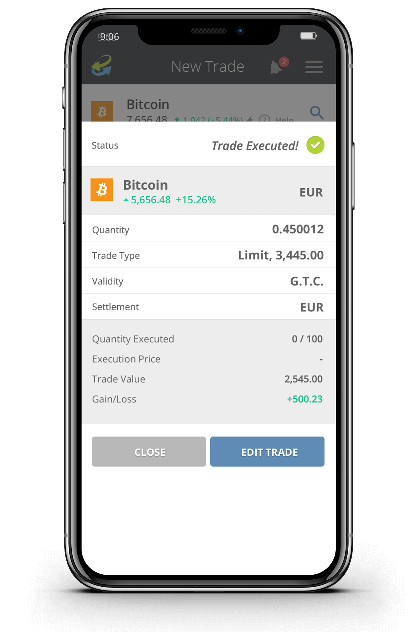 Trade executed CCTrader Crypto
