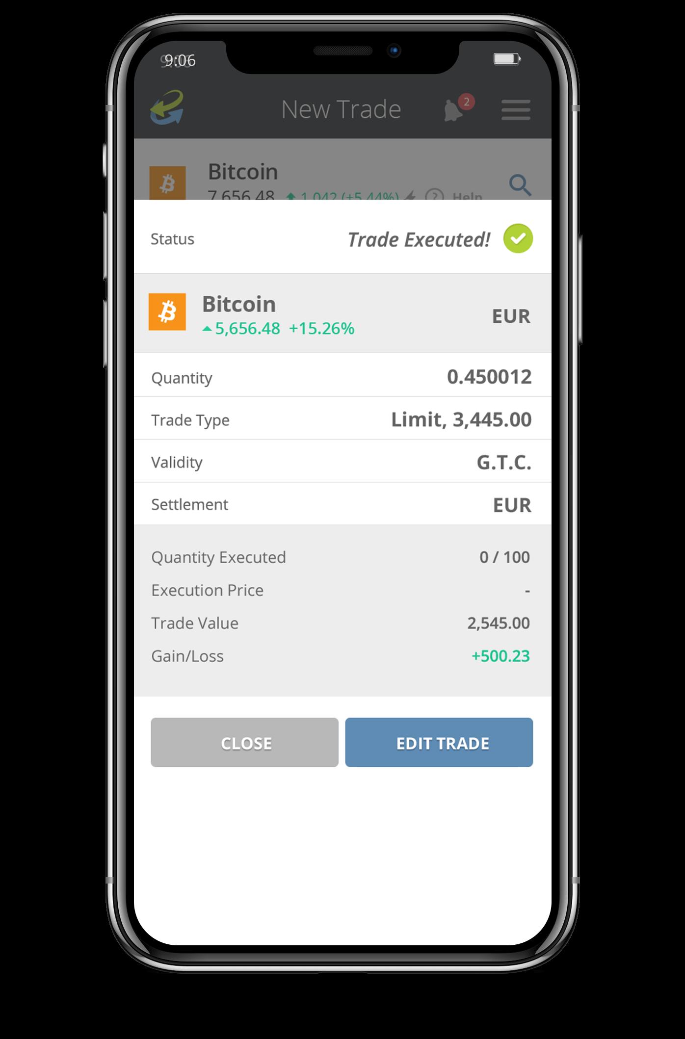 Trade executed CCTrader Crypto